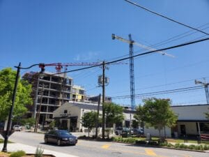 Commercial buildings under construction in Atlanta with cranes